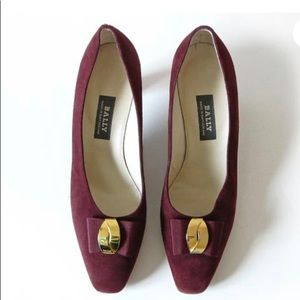 Vintage Bally Mosana Oxblood Burgundy Suede Pumps